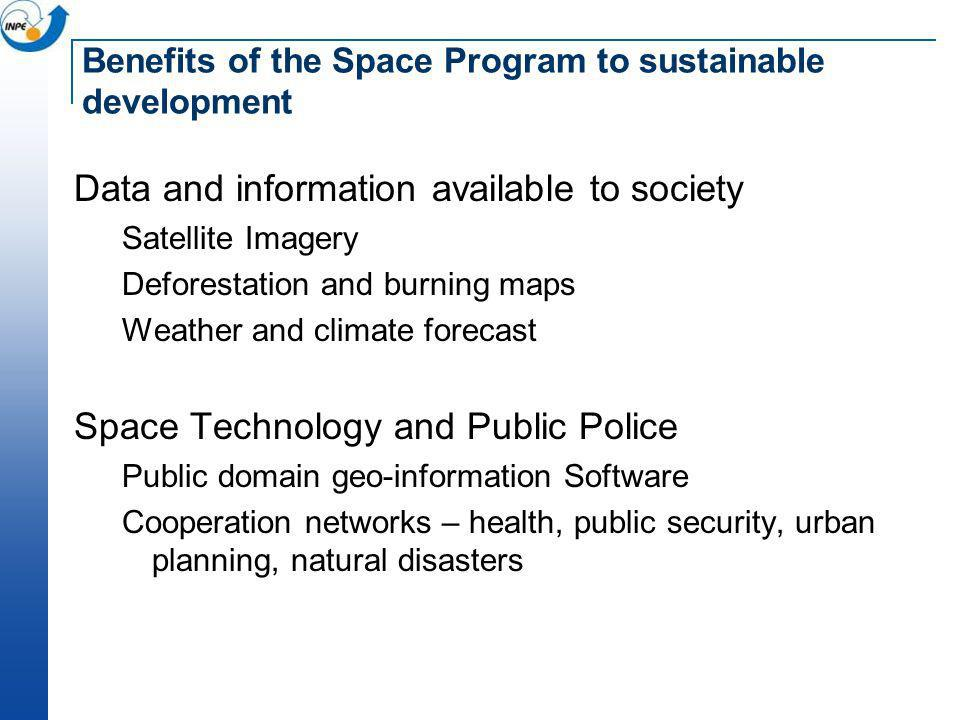 Benefits of the Space Program to sustainable development