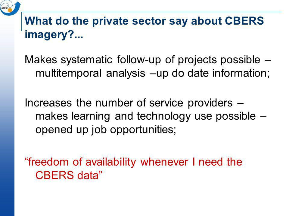 What do the private sector say about CBERS imagery ...