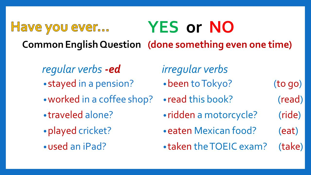 YES or NO Have you ever… regular verbs -ed irregular verbs