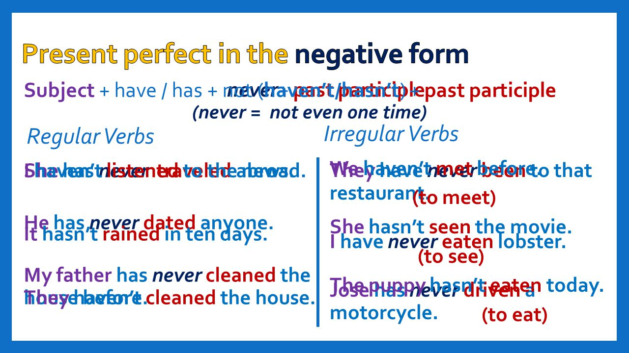 Present perfect in the negative form