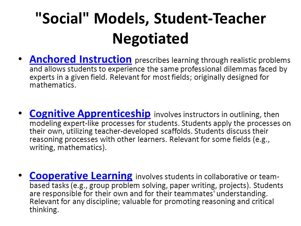 Social Models, Student-Teacher Negotiated