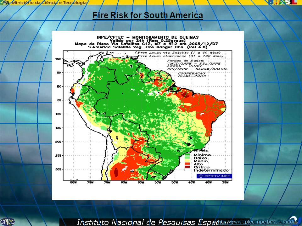 Fire Risk for South America