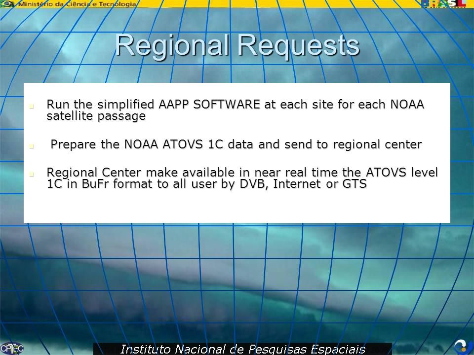 Regional Requests Run the simplified AAPP SOFTWARE at each site for each NOAA satellite passage.