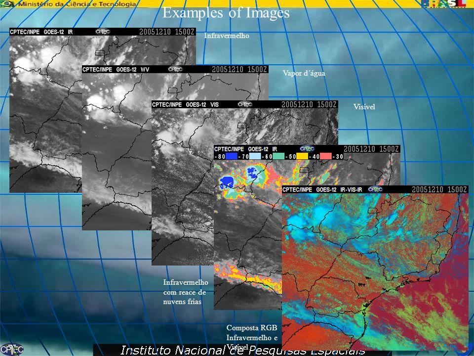 Examples of Images Infravermelho Vapor d´água Visível