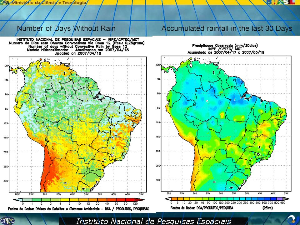 Number of Days Without Rain Accumulated rainfall in the last 30 Days