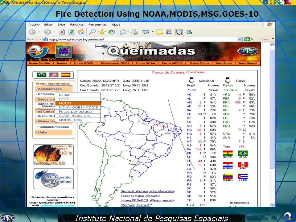 Fire Detection Using NOAA,MODIS,MSG,GOES-10