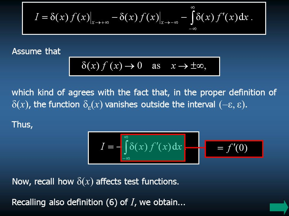 Assume that which kind of agrees with the fact that, in the proper definition of δ(x), the function δε(x) vanishes outside the interval (–ε, ε).
