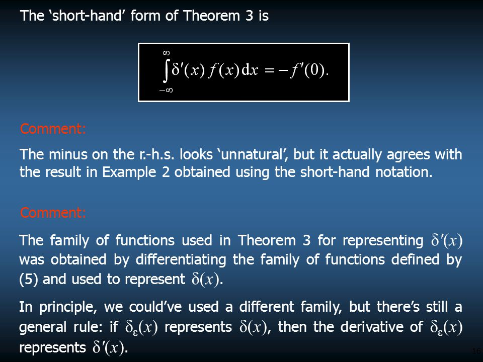 The 'short-hand' form of Theorem 3 is