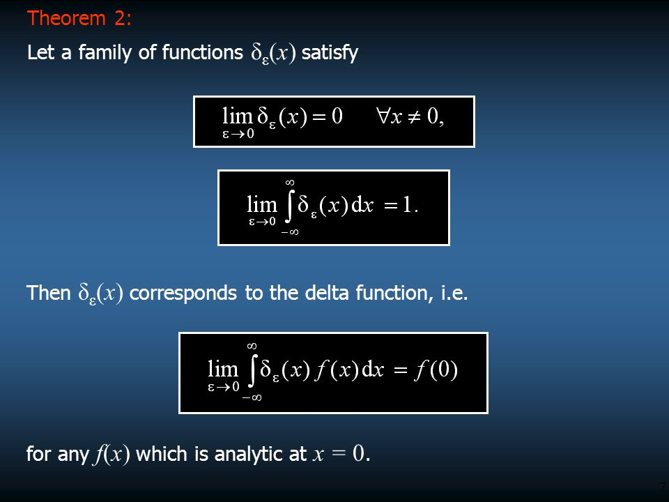 Theorem 2: Let a family of functions δε(x) satisfy. Then δε(x) corresponds to the delta function, i.e.