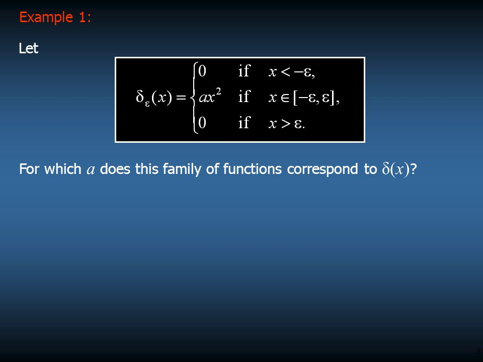 Example 1: Let For which a does this family of functions correspond to δ(x)