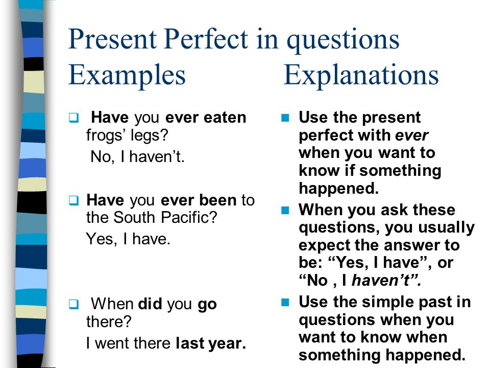 Present Perfect in questions Examples Explanations