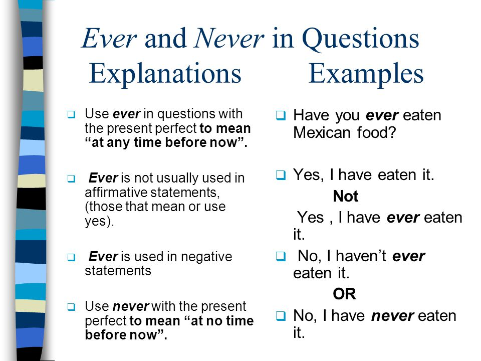 Ever and Never in Questions Explanations Examples