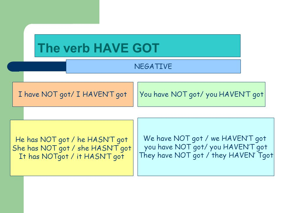 The verb HAVE GOT NEGATIVE I have NOT got/ I HAVEN'T got