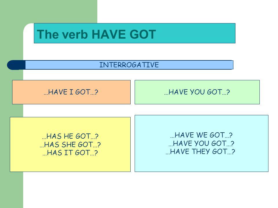 The verb HAVE GOT INTERROGATIVE …HAVE I GOT… …HAVE YOU GOT…