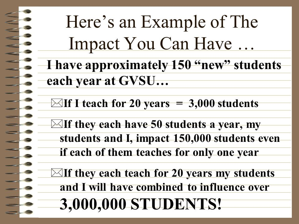 Here's an Example of The Impact You Can Have …