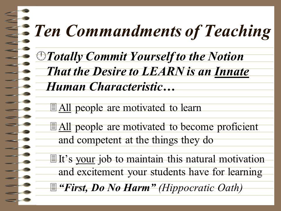 Ten Commandments of Teaching