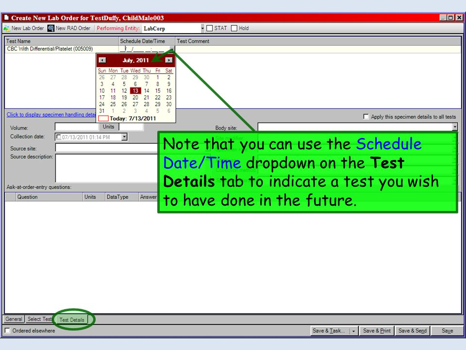 Note that you can use the Schedule Date/Time dropdown on the Test Details tab to indicate a test you wish to have done in the future.