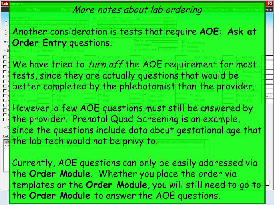 More notes about lab ordering