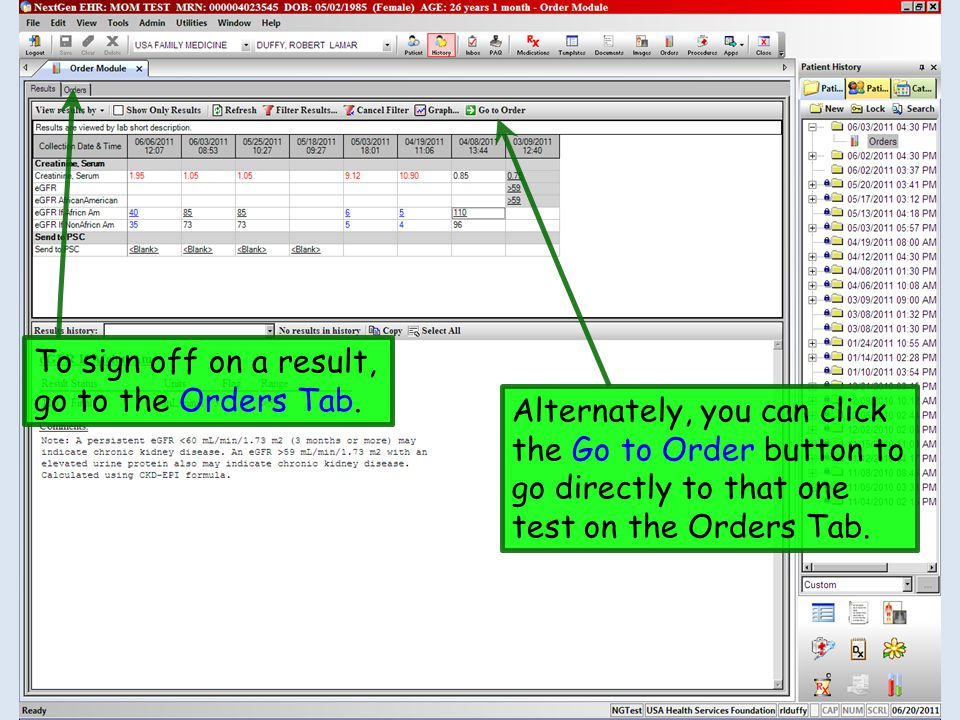 To sign off on a result, go to the Orders Tab.