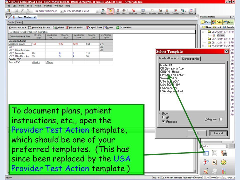 To document plans, patient instructions, etc