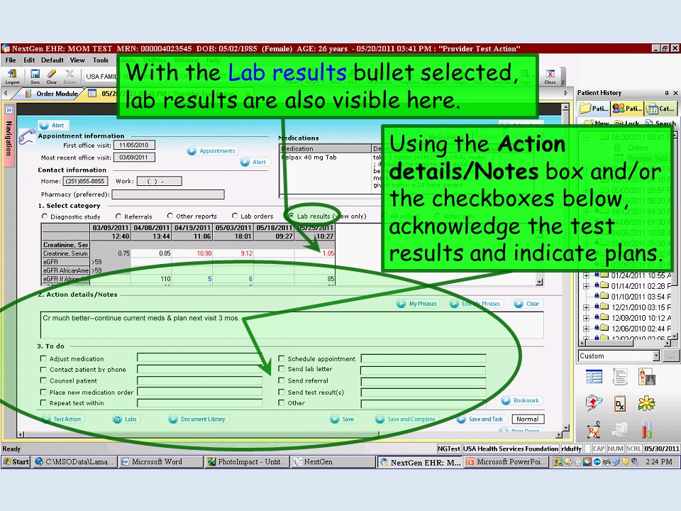 With the Lab results bullet selected, lab results are also visible here.
