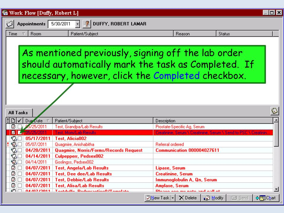 As mentioned previously, signing off the lab order should automatically mark the task as Completed.