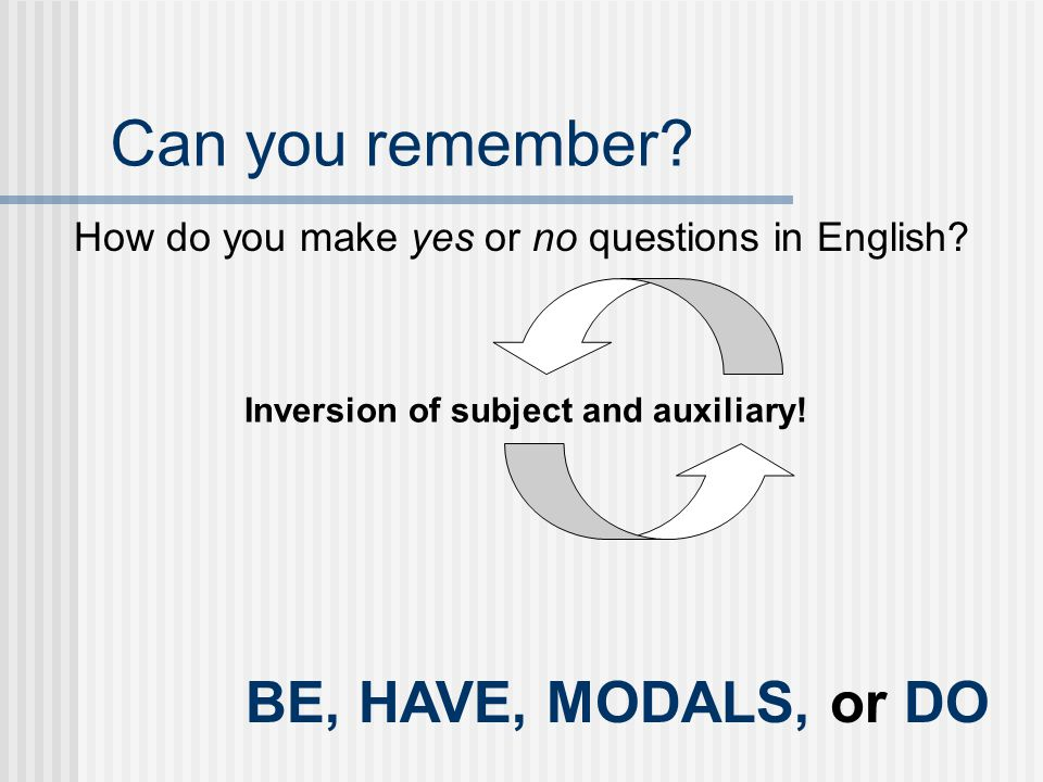 Can you remember BE, HAVE, MODALS, or DO