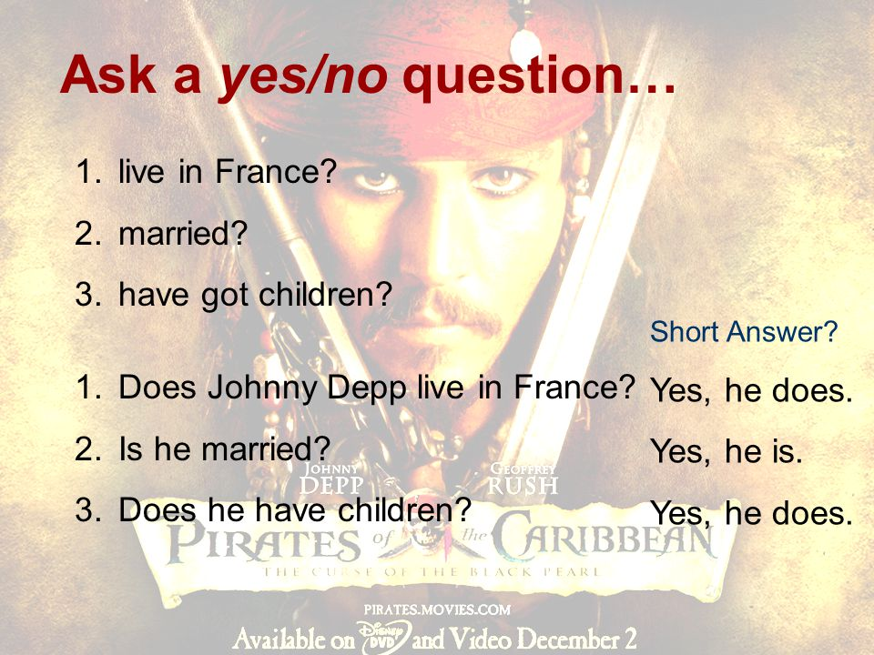 Ask a yes/no question… live in France married have got children