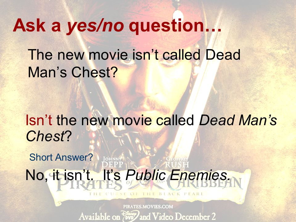 The new movie isn't called Dead Man's Chest