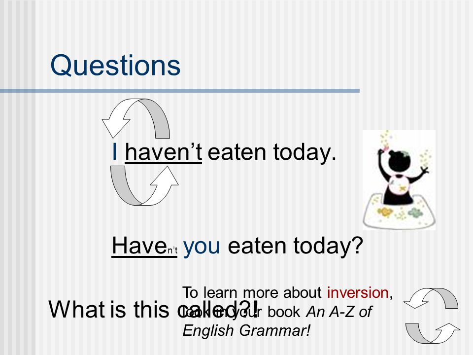 Questions I haven't eaten today. Haven't you eaten today