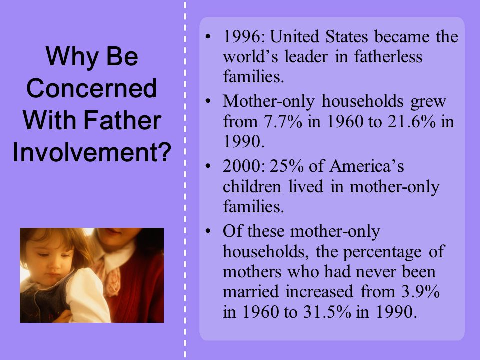Why Be Concerned With Father Involvement
