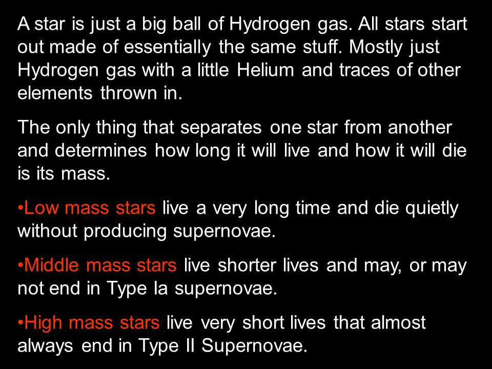 A star is just a big ball of Hydrogen gas