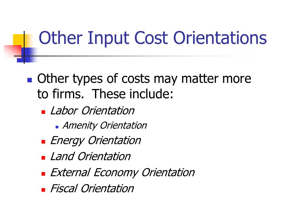 Other Input Cost Orientations