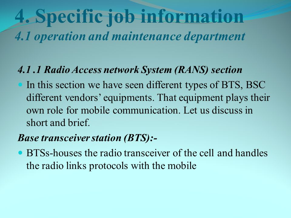 4. Specific job information 4.1 operation and maintenance department