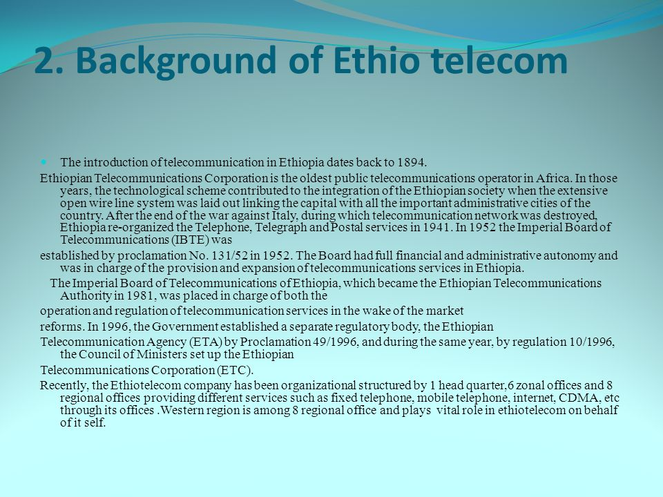 2. Background of Ethio telecom