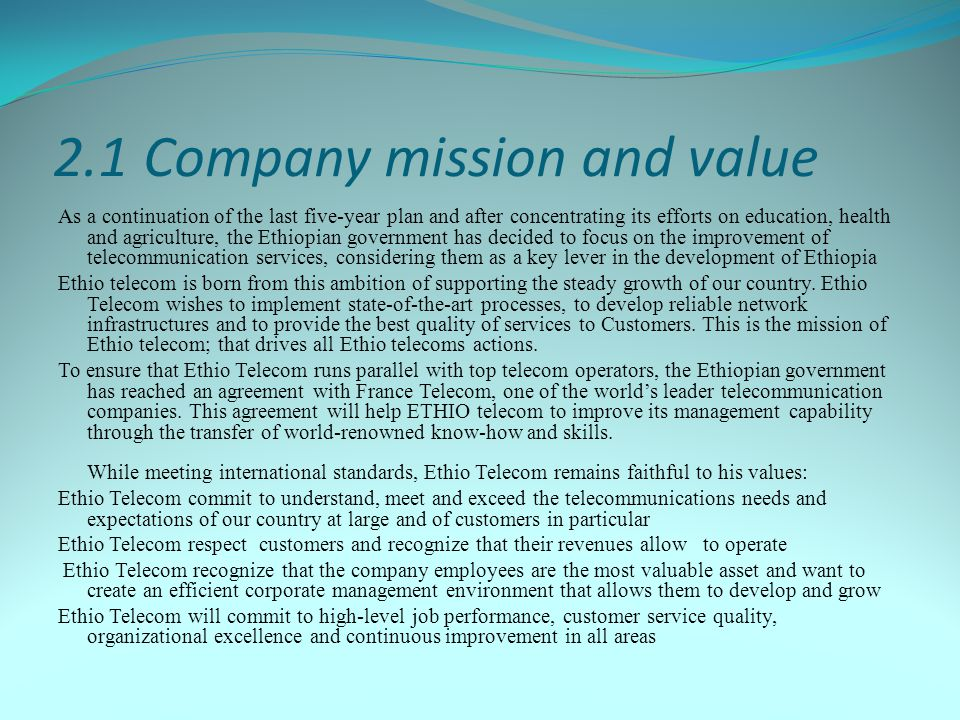 2.1 Company mission and value