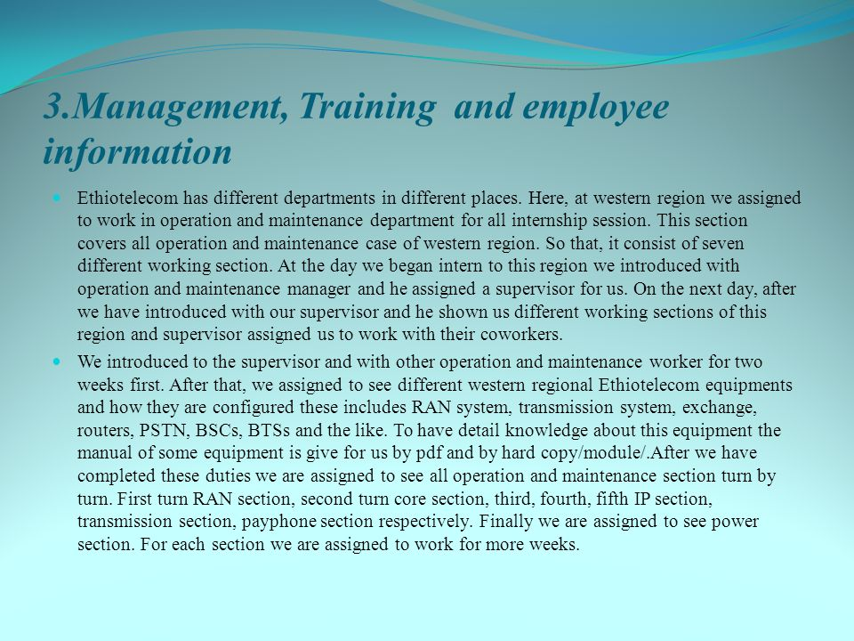 3.Management, Training and employee information