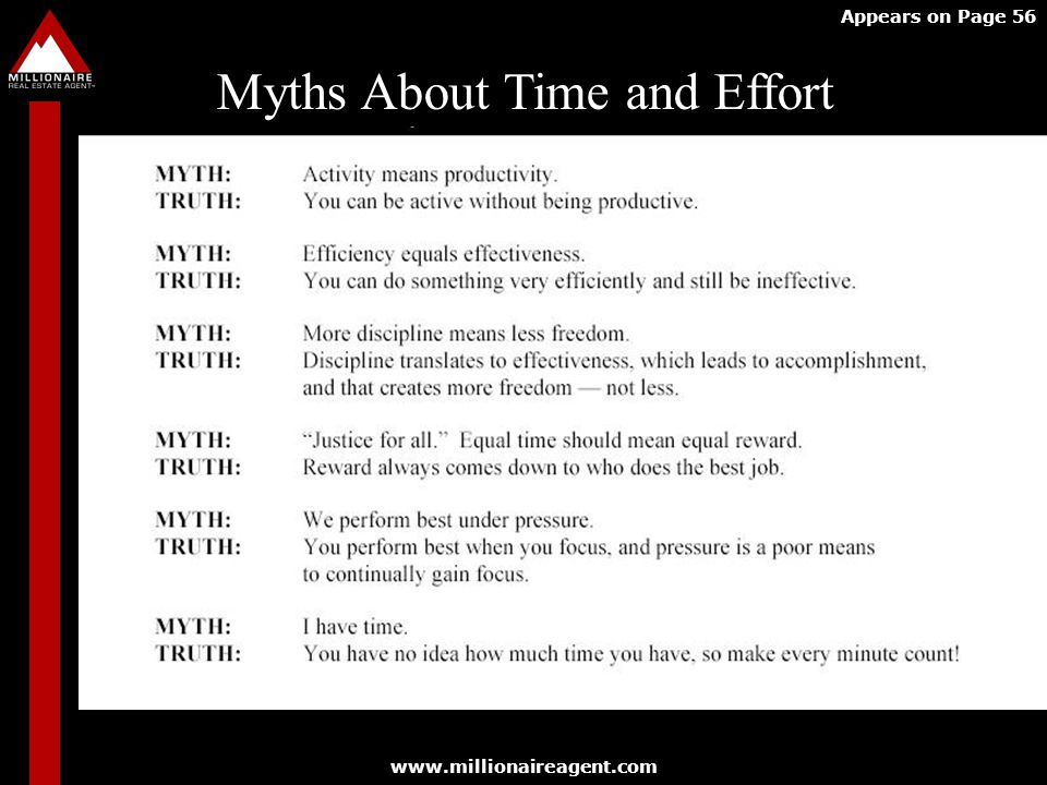 Myths About Time and Effort