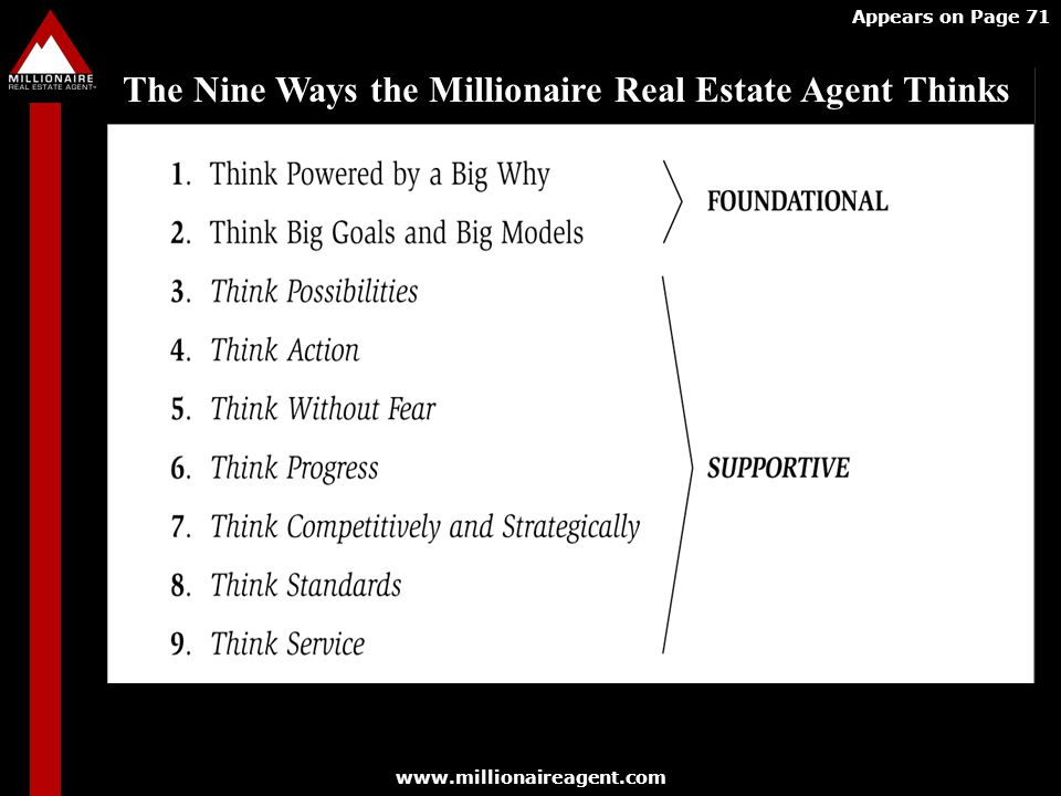 The Nine Ways the Millionaire Real Estate Agent Thinks