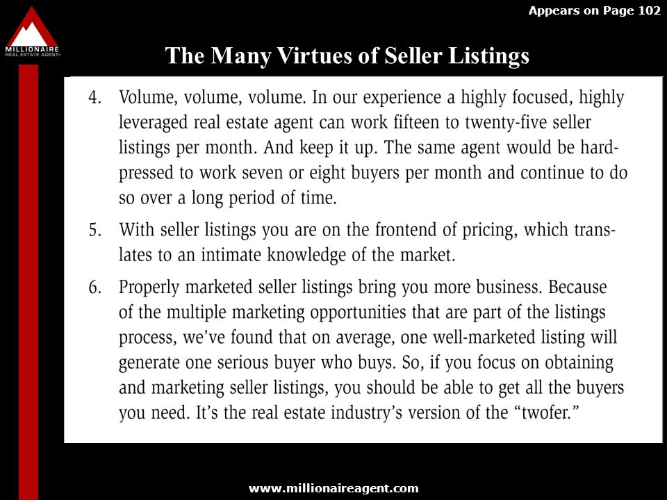 The Many Virtues of Seller Listings