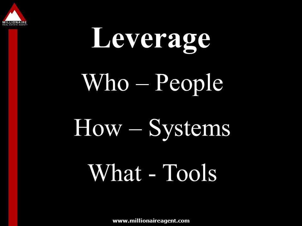 Leverage Who – People How – Systems What - Tools