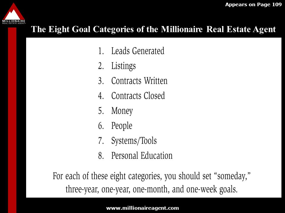 The Eight Goal Categories of the Millionaire Real Estate Agent