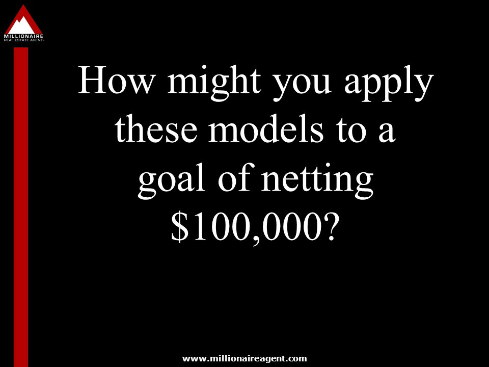 How might you apply these models to a goal of netting $100,000