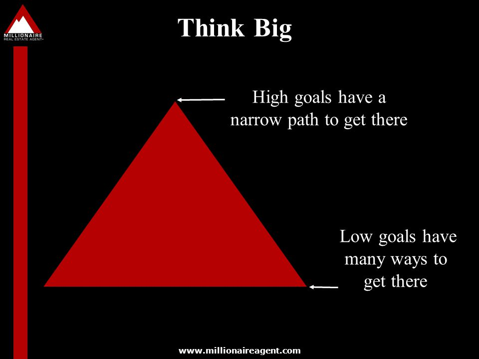 Think Big High goals have a narrow path to get there