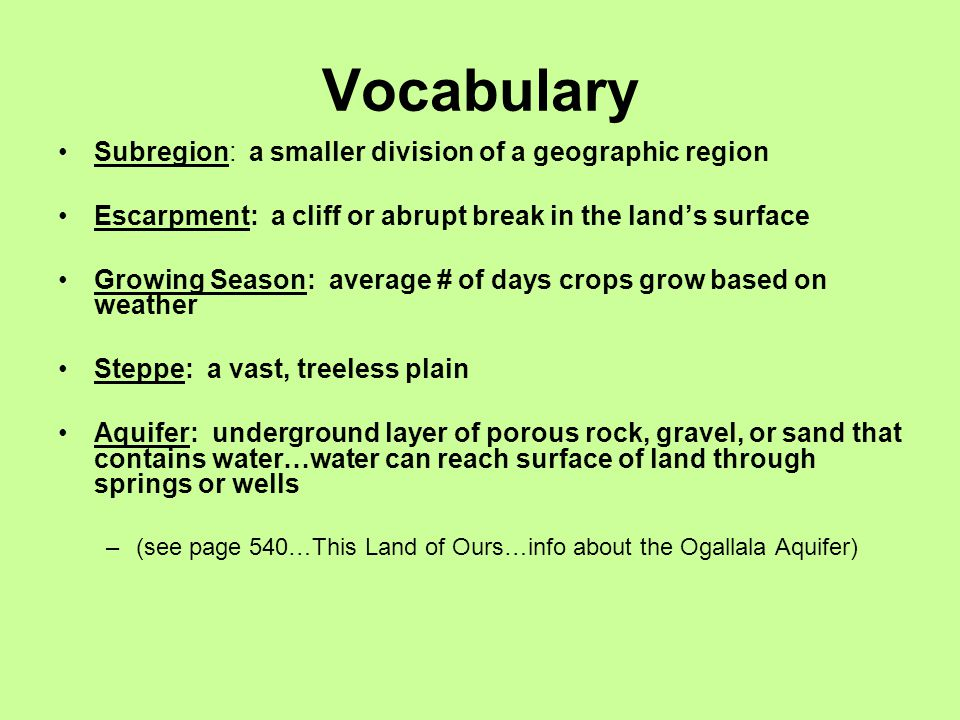 Vocabulary Subregion: a smaller division of a geographic region