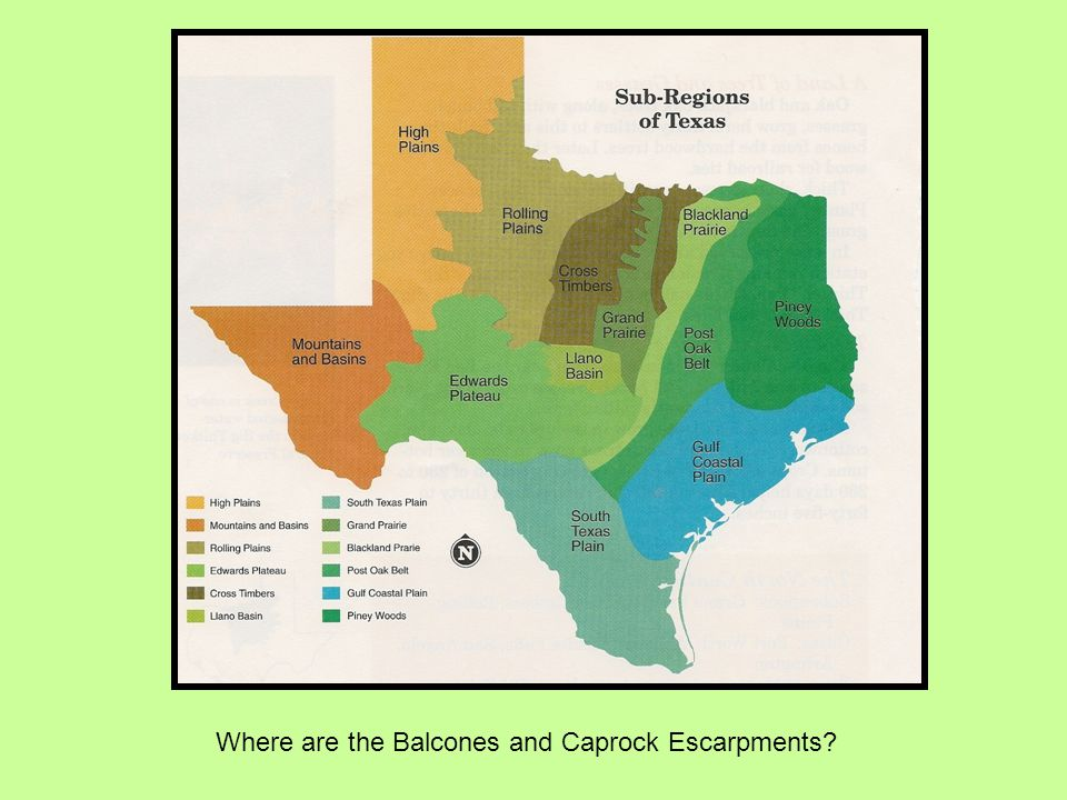 Where are the Balcones and Caprock Escarpments