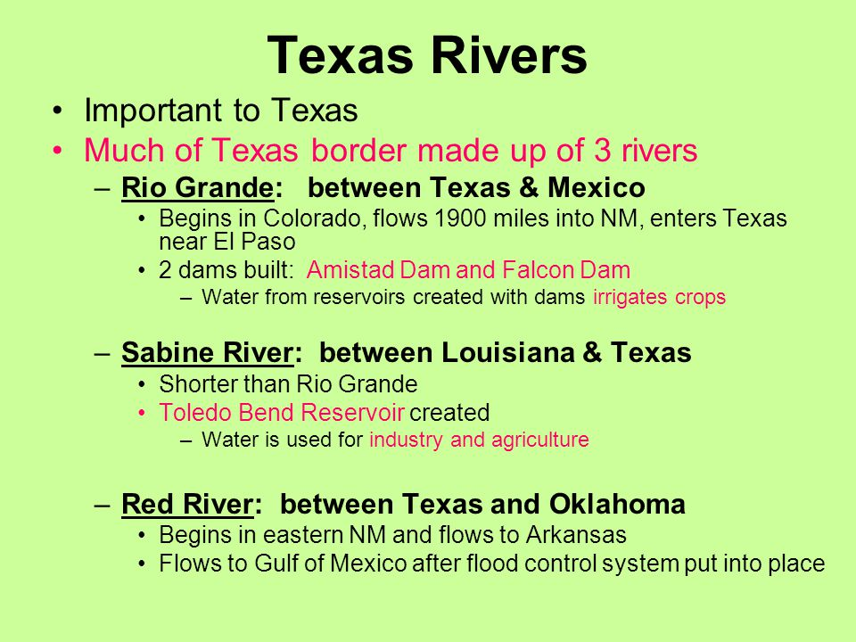 Texas Rivers Important to Texas