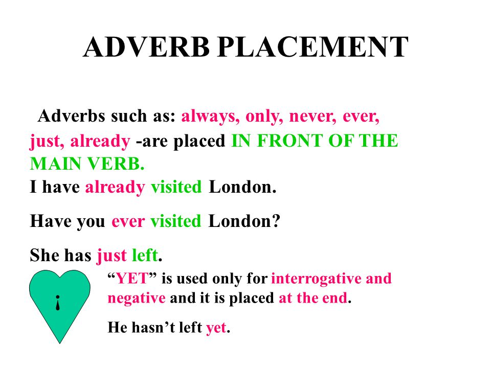 ADVERB PLACEMENT Adverbs such as: always, only, never, ever, just, already -are placed IN FRONT OF THE MAIN VERB. I have already visited London.