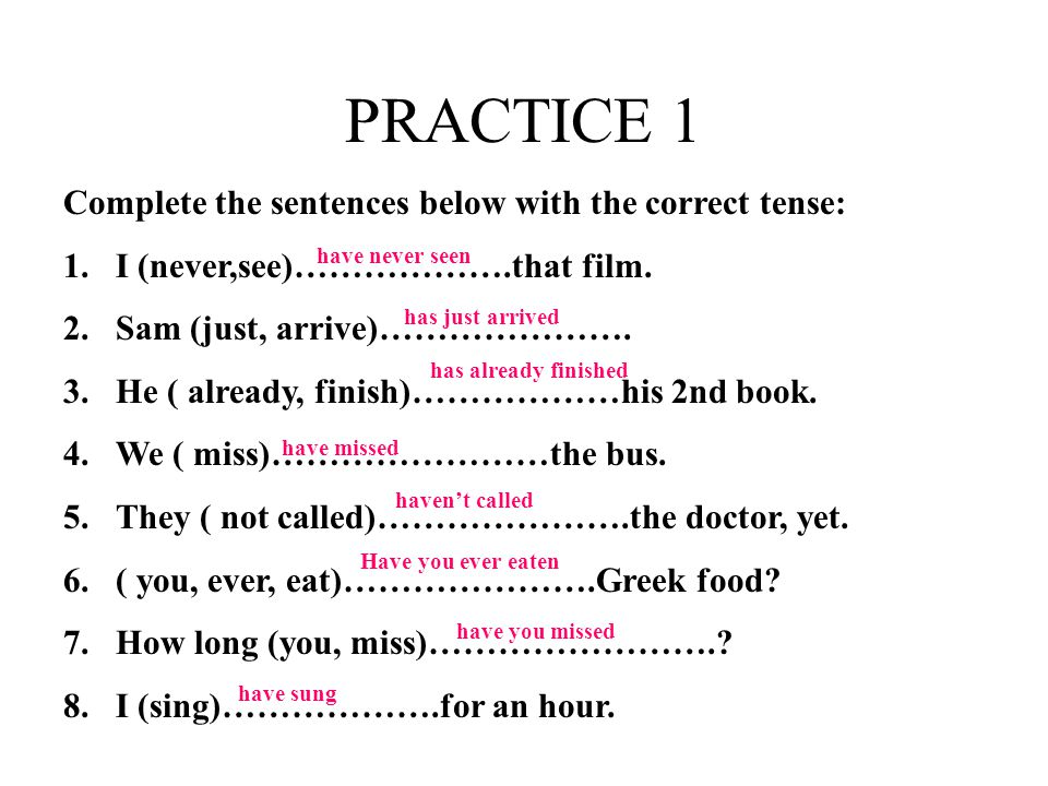 PRACTICE 1 Complete the sentences below with the correct tense: