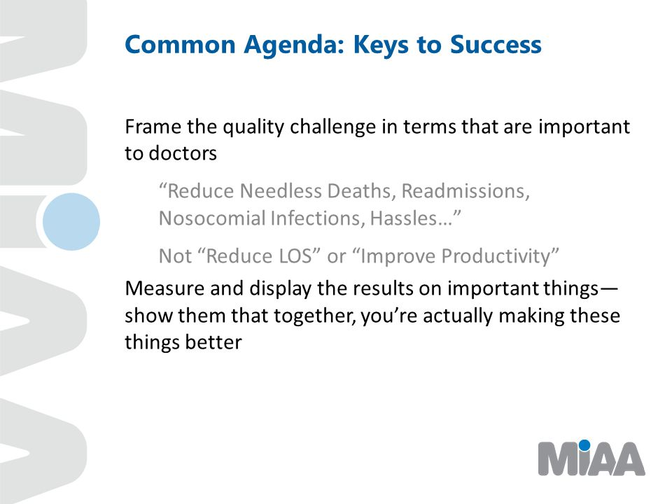 Common Agenda: Keys to Success